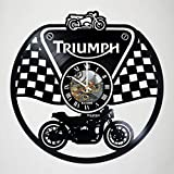 Triumph - Motorcycle - Vinyl Record Wall Clock - handmade artwork unique home bedroom living kids room nursery wall decor great gifts idea for birthday, wedding, anniversary - customize your clock
