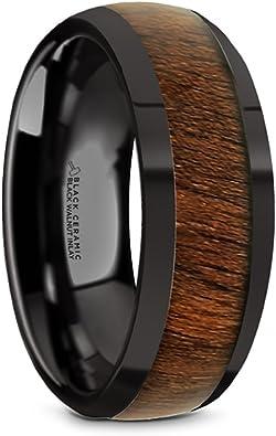 Black Titanium Polished Beveled Edges Black Walnut Wood Inlaid Men/'s Wedding Ring Titanium Rings for Men Lightweight Titanium 8 mm Comfort Fit Thorsten Kony