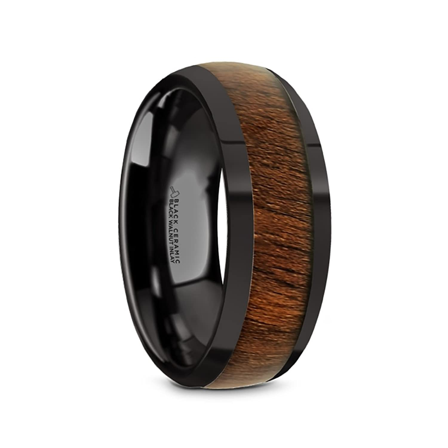 Thorsten WALLACE Domed Style Black Ceramic Wedding Ring with Exotic Black Walnut Wood Inlay and Polished Beveled Edges Comfort Fit Lightweight Durable Wooden Wedding Band by Rings - 8mm