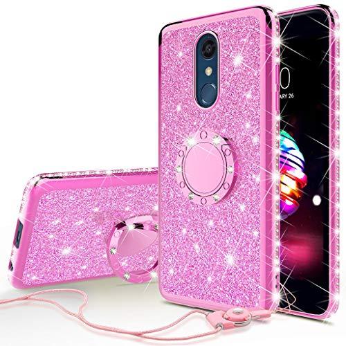 (LG Stylo 4 Case, LG Stylo 4 Plus Case, LG Q Stylus Case, SOGA Glitter Diamond Rhinestone TPU Phone Cover with Ring Stand and Lanyard Girls Women Cover (Pink))