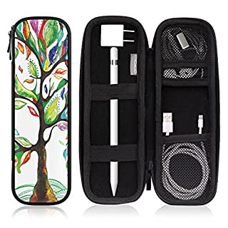 """MoKo Holder Case Fit i-Pencil/i-Pencil 2, PU Leather Case for Samsung Stylus Pen Surface Pen, Fit New iPad 10.2 2019/iPad Air (3rd Gen) 10.5""""/iPad Pro 11 & 12.9 2020 Pencil - Lucky Tree"""