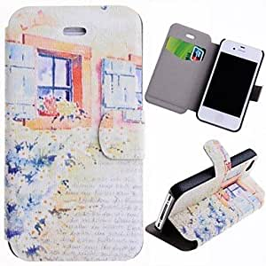 SJT Special Grains Flowers and Window Pattern PU Full Body Case with Card Slot for iPhone 4/4S