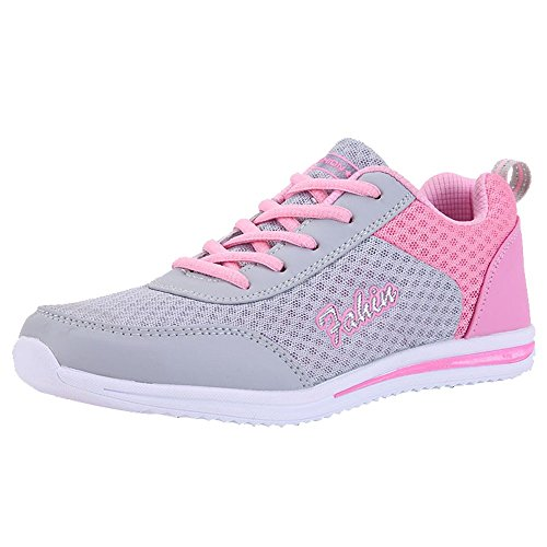 Serzul Ladies Mesh Breathable Sports Shoe Casual Outdoor Walking Running Shoes Flats Shoe Multi Color - Lace Up Jersey Leather
