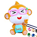 7 16 glass plugs - Youngate Glasses Monkey White Doll Toy with Paint Brush for Kids Adult Coin Bank (Medium: 14-20cm/5.5-7.9inch, Lovely Glasses Monkey)