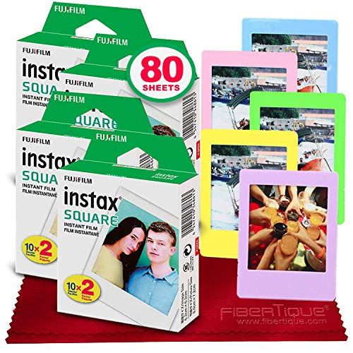 Fujifilm instax Square Instant Film (80 Exposures) for SQ6, SP-3, SQ20 + 5 Color Picture Frames + FiberTique Cleaning Cloth
