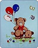 Teddy Bear's N Balloons Acrylic Mink Baby Blanket