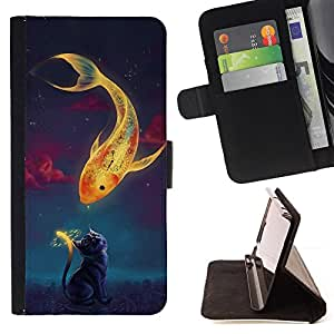 DEVIL CASE - FOR Samsung Galaxy S3 III I9300 - Magical Gold Fish Cat Time Clock Art Drawing - Style PU Leather Case Wallet Flip Stand Flap Closure Cover