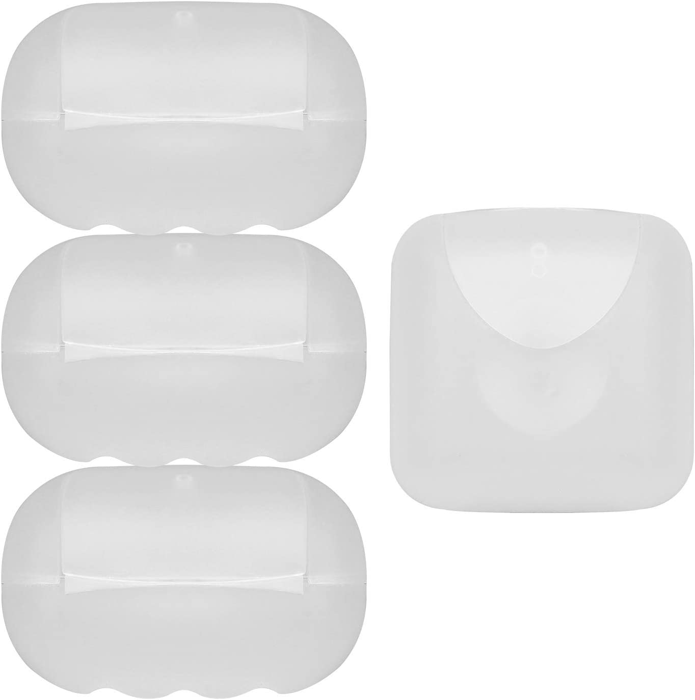 Vonpri Small Soap Box Holder, Soap Dish Soap Savers Case Container for Bathroom Camping Gym (4 Pack Clear)