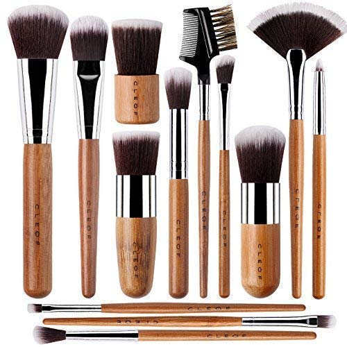 (13 Bamboo Makeup Brushes Professional Set - Vegan & Cruelty Free - Foundation, Blending, Blush, Powder Kabuki)