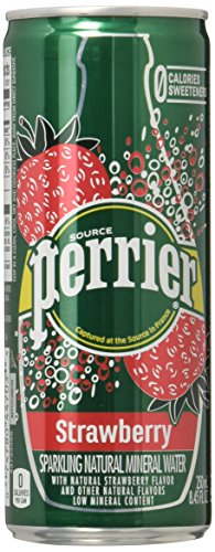 UPC 074780447058, PERRIER Strawberry Flavored Sparkling Mineral Water, 8.45-Ounce Slim Cans (Pack of 30)