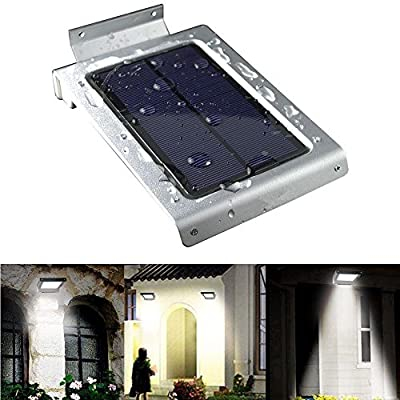 46 LED Outdoor Solar Wall Light- Motion Activated Security Lighting- Wireless Exterior Lantern- Weatherproof Aluminum Fixture- Super Bright Spotlight for Patio, Pool, Yard, Deck, Porch (Silver)