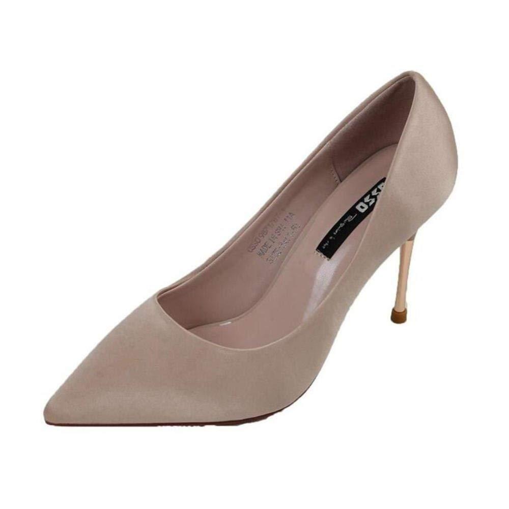Beige FUTER Escarpins élégants Chaussures pour Femmes PU Confortable Talons Aiguilles Aiguille Pointue OL commuer Beige (Couleur   Beige, Taille   EU38 UK5.5 CN38)