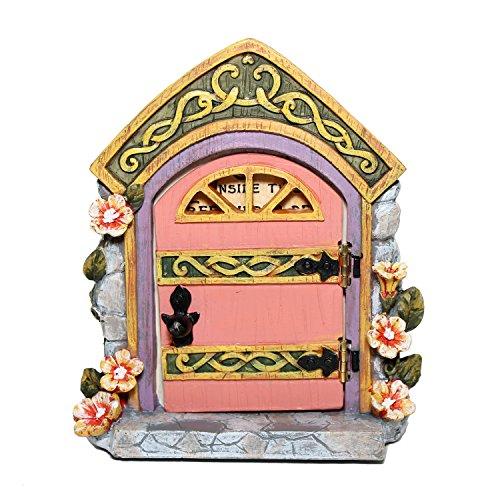 Gift Craft Hinged Fairy Door w/Secret Inscription (Pink)