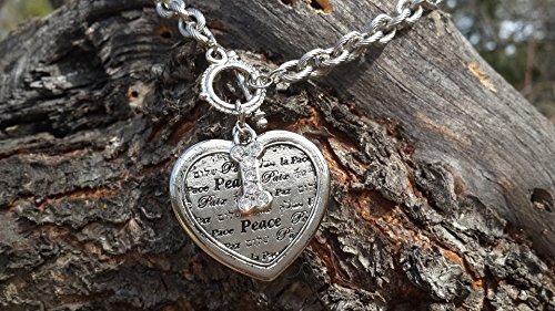 nimal Rescue Peace Heart Charm Necklace (Tone Peace Necklace)