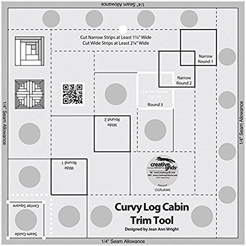 Creative Grids Curvy Log Cabin Trim Tool Quilting Ruler Template for 8
