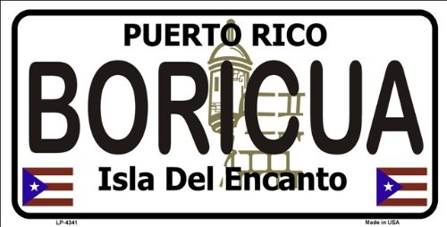 Puerto Rico Metal (Boricua Puerto Rico Novelty State Background Metal Novelty License Plate Tag Sign)
