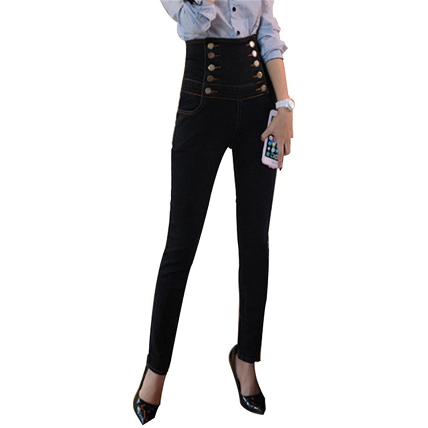 Womens Skinny Jeans Fashion Slim Denim Strech Black Double Breasted Pencil Pants