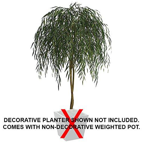 7' Willow Silk Tree w/Pot -Green by SilksAreForever