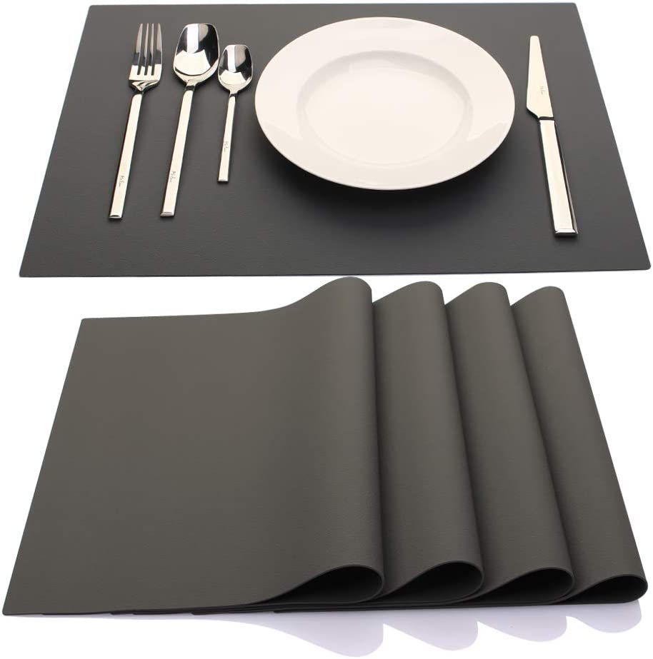 IYYI Silicone Placemats,Placemats for Kids,Placemats Set of 4 Waterproof Heat Resistant Non-Slip Kitchen Table Mats for Dining Table, Easy to Clean (Dark Gray)