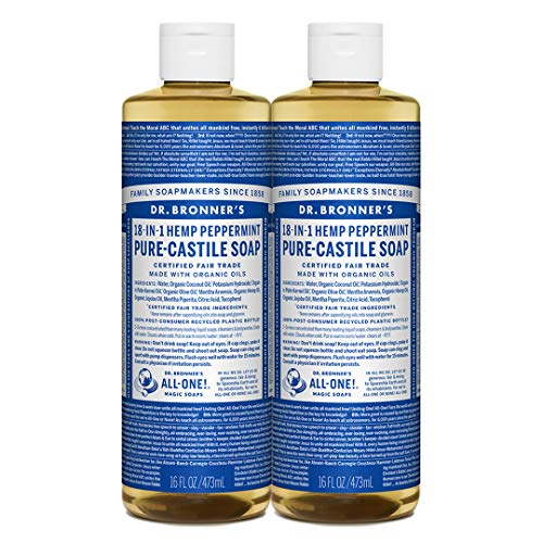 Dr. Bronner s Pure-Castile Liquid Soap Shower and Travel Pack Peppermint 16oz. 2 Pack