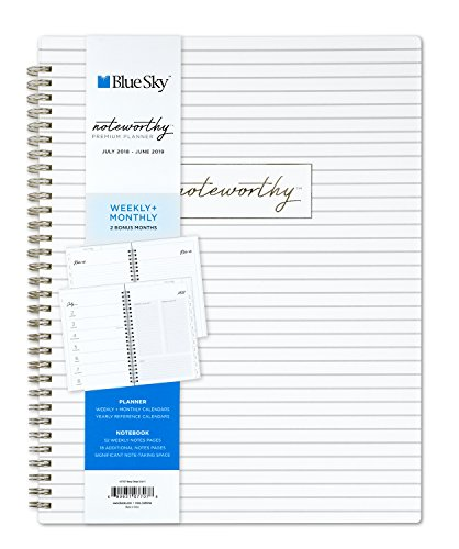 "Blue Sky Noteworthy 2018-2019 Academic Year Weekly & Monthly Premium Planner, Flexible Cover, Twin-Wire Binding, 8.5"" x 11"", Wavy Stripe -  Blue Sky the Color of Imagination, LLC, 107707"