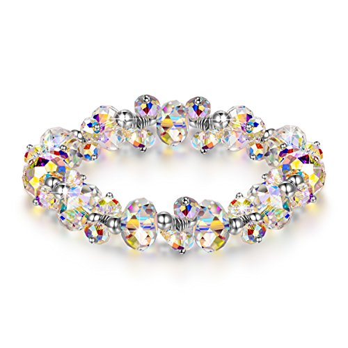 (LADY COLOUR Strech Bracelet for Women Colorful Adjustable Bangle with Swarovski Aurore Boreale Crystals Fashion Costume Jewelry Brithday Wife Her Girls Girlfriend Mom Mother)