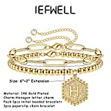 IEFWELL Layered Initial Bracelets for Women, 14K
