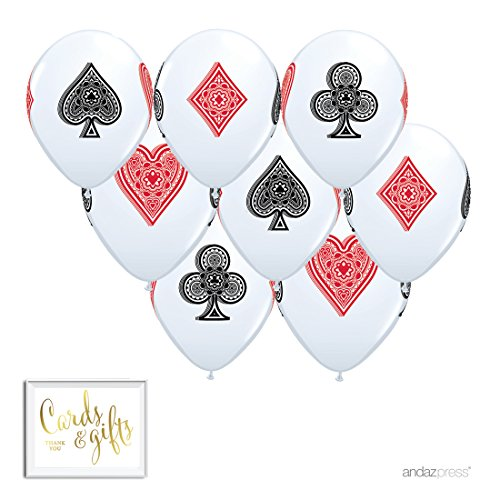 Andaz Press Printed Latex Balloon Party Kit with Gold Cards & Gifts Sign, Cards Bingo Casino Night, 8-Pk