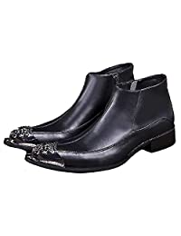 US Size 5-12 Black Steel Toe Leather Mens Formal Dress Zip Ankle Boots Shoes