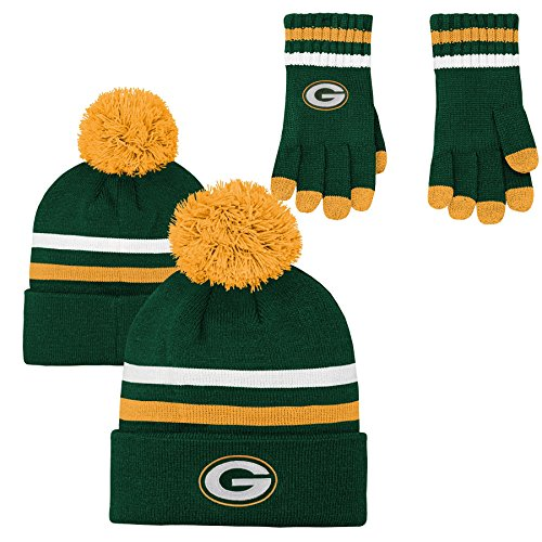 NFL Youth Boys (8-20) 2 Piece Knit Hat and Gloves Set-Hunter, Green Bay Packers-One Size (Green Beanie Packers Youth Bay)
