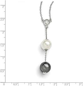 Beautiful Sterling silver 925 sterling Sterling S Majestik Rh-pl 10-11mm Wht /& Grey Imitat Shell Pearl /& CZ Neckla