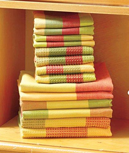 14 Pc Spice Woven Cotton Kitchen Plaid Check Towel & Dishcloth Sets