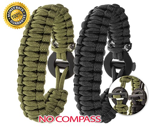 A2S SURVIVAL Paracord Bracelet K2-Peak – Survival Gear Kit with Embedded Compass, Fire Starter, Emergency Knife & Whistle – Quick Release Slim Buckle Design