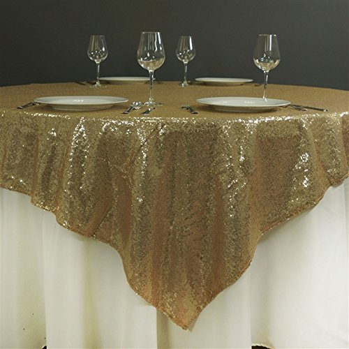 BalsaCircle 72″ Square Sequined TABLE OVERLAY Designer Wedding Party Linens – Champagne