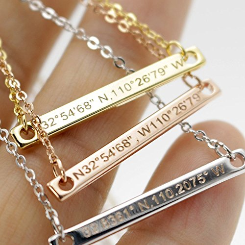 A Bar Coordinate Necklace Diamond Engraving 16k Gold Silver Rose Gold -Plated Dainty GPS Coordinate Personalized dainty and delicate Initial Charms Bridesmaid Gift and Wedding