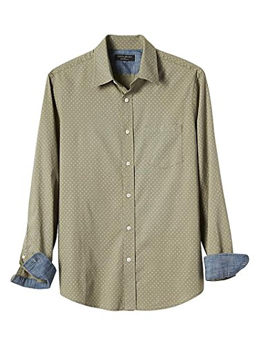 Banana Republic Mens Slim-Fit Soft Wash Olive Print Shirt, X-Large
