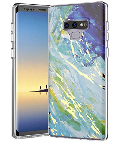 Galaxy Note 9 Case,Samsung Galaxy Note 9,Spevert Marble Pattern Hybrid Hard Back Soft TPU Raised Edge Ultra-Thin Slim Protective Case Cover for Samsung Galaxy Note 9 2018 - Green