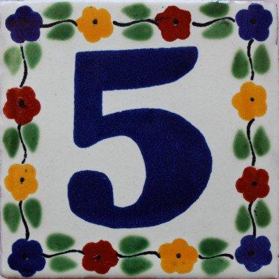 2 pcs Bouquet Talavera Tile Number Five