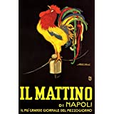 "IL MATTINO DI NAPOLI ITALIAN NEWSPAPER ROOSTER CLUCKING ITALY 20"" X 30"" VINTAGE POSTER REPRO"