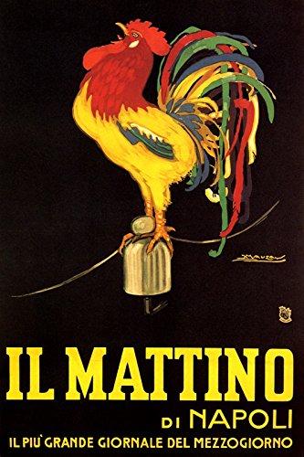 IL MATTINO DI NAPOLI ITALIAN NEWSPAPER ROOSTER CLUCKING ITALY 16'' X 24'' IMAGE SIZE VINTAGE POSTER REPRO