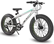 Hiland 20 Inch Kids Fat Tire Mountain Bike 7-Speed MTB Bicycle for Boys Girls Urban Commuter City Bicycle