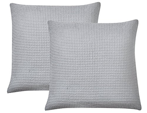PHF Waffle Throw Pillow Cover 100% Cotton Square Euro Sham Cover for Bed Couch Sofa Pack of 2 26