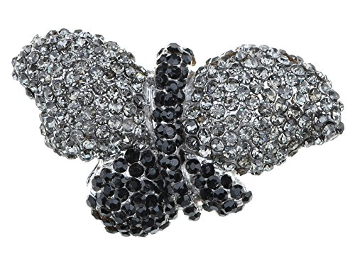 Alilang Black Smoke Gunmetal Tone Crystal Rhinestone Jewel Bling Butterfly Adjustable Ring
