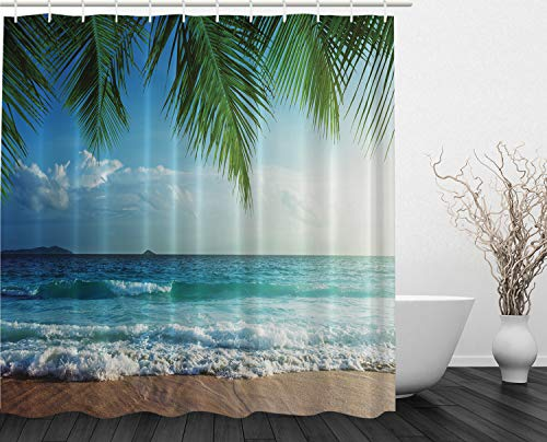 Double Tree Hotel Suites - Ambesonne Palms Ocean Tropical Island Beach Decor Maldives High Resolution Photography Home Postcard Decor Bathroom Textile Leisure Traveler Explorer Print Fabric Shower Curtain