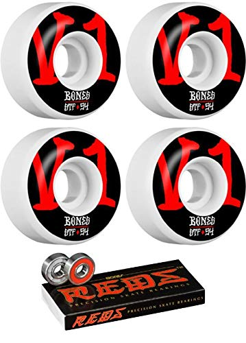 Bones Wheels 54mm STF V1 Annuals スケートボードホイール ボーンベアリング付き - 8mm ボーンズ レッド 精密スケート定格スケートボードベアリング - 2点セット   B07JWJB9LD