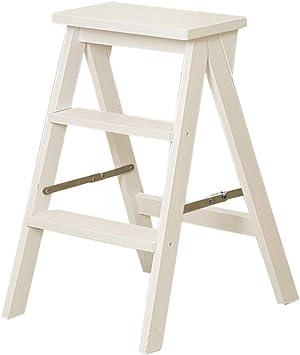 Escaleras de tijera Taburete de 2 escalones Taburete plegable Escalera de madera Escalera de madera de pedal ancho sólido (Taburete de 2 peldaños) Escalera plegable (Color : White): Amazon.es: Bricolaje y herramientas