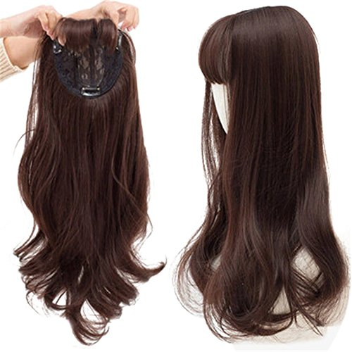 "22"" Long Wavy Clips in Top Hairpieces with Mini Air Bangs Synthetic Hair Toppers for Women (Dark chestnut brown)"