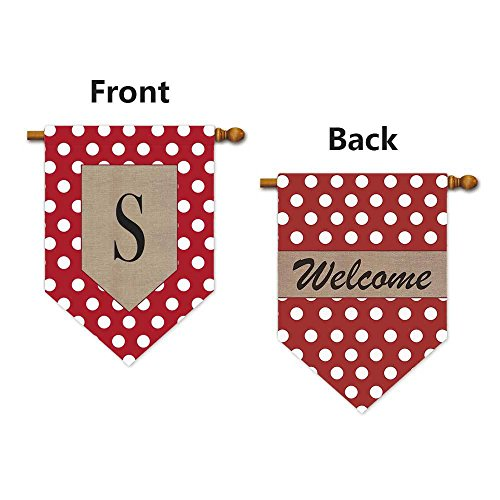 KafePross Dots Letter and Welcome House Flag Monogram S 28x40 Print Both Sides