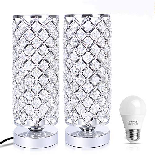 Crystal Table Lamp, Kakanuo Bedside Table Desk Lamp with G45 LED Bulb Include, Modern Nightstand Lamp for Bedroom, Living Room, Office (Set of 2) ()