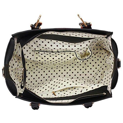 Funda de piel sintética nuevo bolso de mano para mujer moda bolso de hombro bolsas mujer grande, color morado, talla L Negro/Rosa Bolsa